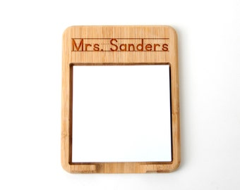 Personalized Teacher Gift - Post it Note Holder -  Bamboo Post-it notes wood holder