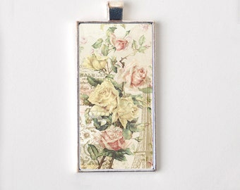 Eiffel Tower Pendant Necklace for Girls - Floral Shabby Rose Epherma Jewelry
