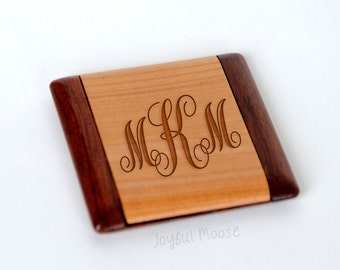 Wood Monogram Pocket Mirror - Bridesmaid Gift - Personalized Wood Compact Mirror - Custom Mirror