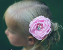 Pink Flower Clip, Bridal Flower clip, Baby Hair Clips, Baby Hair Bows, Wedding Hair piece, Sating singed flower,Hair Bows,Hair Clips