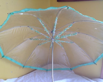 Vintage Clear Plastic Umbrella with Green Flowers