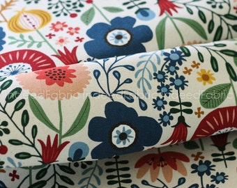 CANVAS- Scandinavian Flowers, Cotton Canvas, Cosmo Textiles, Japanese Fabric