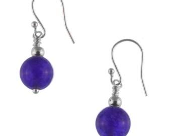 Purple Amethyst Earrings,  Sterling Silver Amethyst Earrings, February Birthstone, Amethyst Drop Earrings, Amethyst Jewelry