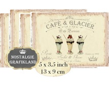 Ice Cream French Patisserie Dessert Glacier Bakery Instant Download digital collage sheet P178 Confiserie