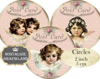 Collage Angels Circles Cherubs Shabby Chic Christmas 2 inch Instant Download digital collage sheet C240