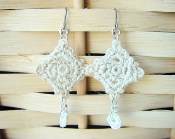 Crocheted Earrings Ivory