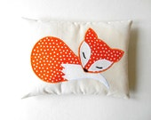 Orange Fox Pillow Decoration, Handmade Applique Fox Cushion on Eco Friendly Natural Cotton, Orange Woodland Nursery, Forest Animal Gift