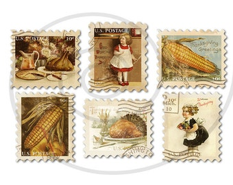 Fake stamps. Thanksgiving. Old postage stamps. Vintage digital stamps. Postage stamp art. Digital collage sheet. Instant download PNG