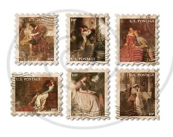 Fake stamps. Old postage stamps. Vintage digital stamps. Postage stamp art. Digital collage sheet. Love scenes. Instant download PNG