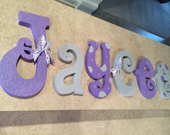 Nursery decor, Nursery wall decor, nursery letters, purple and gray nursery letters, baby girl nursery letters, nursery wall letters