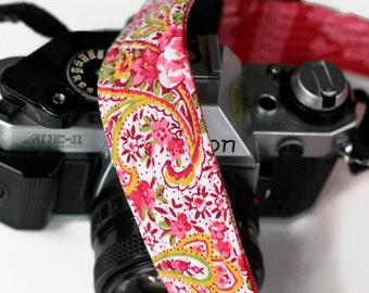 Custom camera strap, womens camera strap, dslr camera strap, reversible, padded, paisley, pink camera strap,  photographer gift, canon