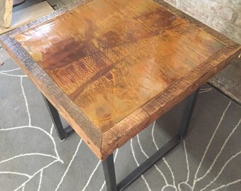 Copper and steel End table