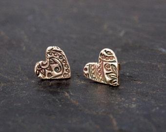Fine silver heart stud earrings, decorative heart post earrings, precious metal clay earrings #106