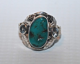 Sterling Silver Sleeping Beauty Turquoise Ring Sz 8.5 #4520