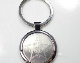 Sailor Mars Keychain Key Chain Tag Engraved Silver Tone Metal KEN-0048