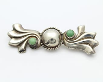 Vintage Artisan Ribbon Design Brooch with Green Cabochons in Sterling Silver. [11300]