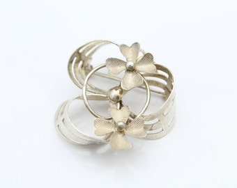 Vintage Italian Swirl and Flower Brooch in 800 Silver. [8065]