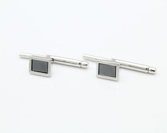 Vintage Small Cufflinks by Walter E Haward in Hematite and Sterling Silver. [9781]