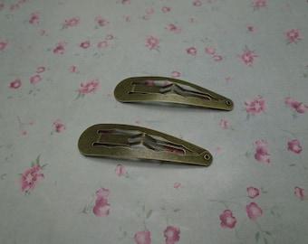 30pcs antique bronze color metal snap clip , metal hair snap clip , 55x15mm , HA3123-30