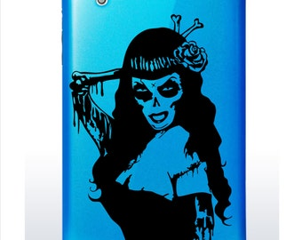 Zombie Girl Decal // day of the dead // sticker // laptop // tablet // ipad skin // wall decor
