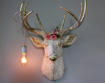 Faux Taxidermy Deer Head Wall Mount Sconce Light Stag Buck Antlers White Rustic Modern Trophy Animal Decor Antler Art Sculpture Holiday Gift
