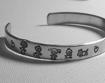 Personalized Family Tree- aluminum handstamped cuff/Customized stick figure family cuff