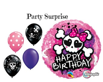 Pink Pirate Party Balloons Girl Pirate Birthday Party Balloons Pink Skull and Crossbones Birthday Decoration Balloons