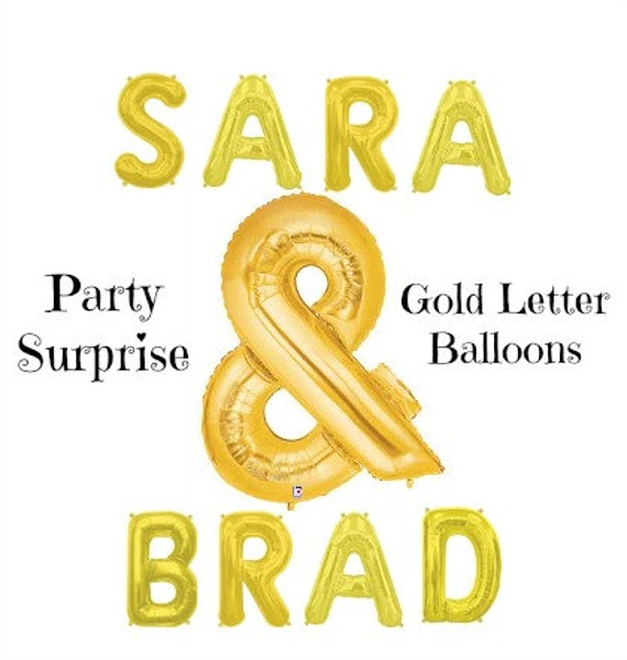Gold letter balloons air filled love happy birthday xoxo for I love you letter balloons