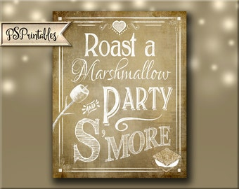 Party Smore Printable Wedding sign or party sign - Roast a Marshmallow and Party S'More  - DIY PRINTABLE signage - Vintage Heart Collection