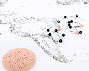 """Large World Map on cork - Multiple sizes 18""""x12"""" / 24""""x16"""" / 24""""x36"""" - With pins"""