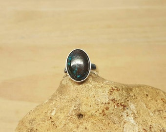 Sterling silver Chrysocolla ring. Reiki jewelry.  Adjustable ring. Semi precious ring