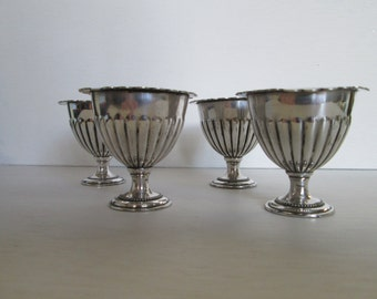 Vintage egg cups, silver toned metal egg cup set of four.