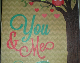You and Me Canvas Print - Canvas size 20.3 x 25.4cm - Hand Made