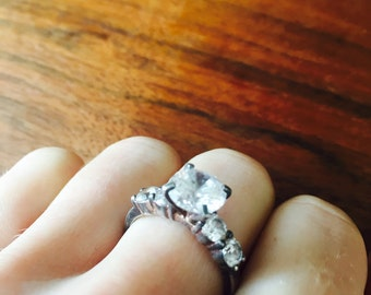 Vintage Sterling Silver Cubic Zirconia Engagement Ring Size 7
