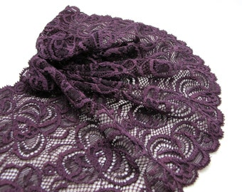 5 13/16 Inches Elastic Stretchy Wide Lace|Purple FloralEmbroidered Lace Trim|Bridal Wedding Materials|Clothing Ribbon|Hairband|DIY