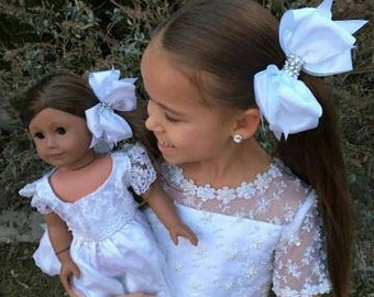 Girl White Hairbow with Matching Doll Hairbow