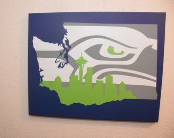 Washington State sign - Seattle Seahawks sign - unique Seattle wall art - Seattle Skyline - Seattle Seahawks - Wall art - custom home decor