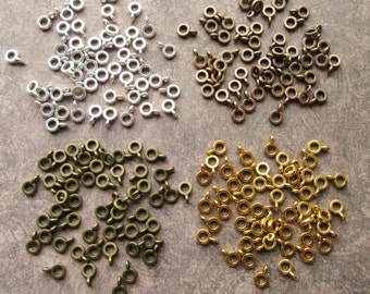 50 Antique Silver, Gold, Bronze or Copper Bead Hanger Bails 6.5mm