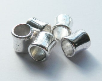 5 Large Hole Antique Silver Tibetan Tube Beads 12x11mm, Hole 8mm Metal