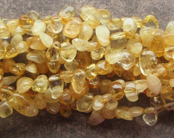 15 inch Strand of Citrine Top Drilled Smooth Pebble Nugget Beads 10-20mm