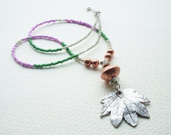 Silver Maple Leaf Pendant Necklace ~ Handmade ~ Glass Beads ~ Pink Purple Copper  Festival