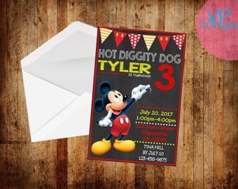 Mickey Mouse Chalk Board Birthday Invitation set of 25 PRINTED INVITATIONS with envelopes age can be changed!