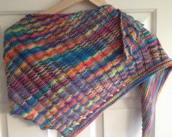 Rainbow asymmetric scarf, rainbow ladder wrap, hand knit shawlette, gender neutral, ooak