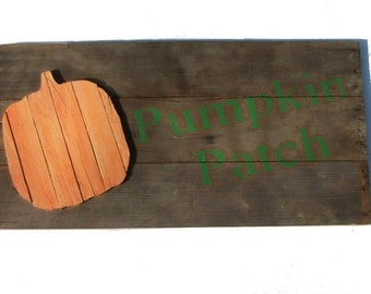 Rustic Wood Sign, Hand Painted Orange Pumpkin Patch, Halloween, Fall Decor, November, Autumn, Barn Wood, October, Country Farm House decor