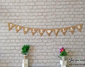 TABLE PLAN Burlap Banner Hessian Bunting Garland Wedding Decorations