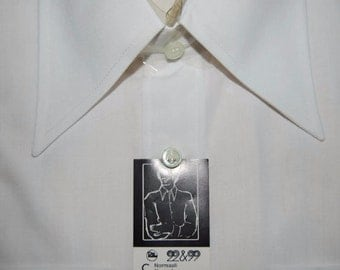 60's natural white men shirt, Made in Finland by Pallo-Paita Oy