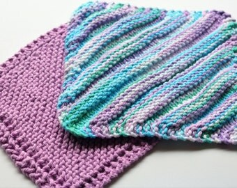 Knit Dishcloth, Set of 2, Knitted Washcloth, Reusable Cloth, Striped Cotton Dishcloth, Coordinating Colors Cloths