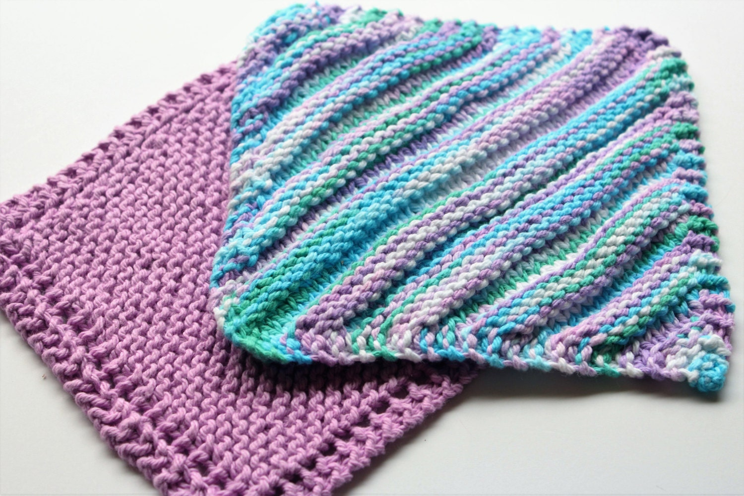 Knit Dishcloth Patterns Two Colors : Knit Dishcloth Set of 2 Knitted Washcloth Reusable Cloth