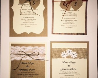 50 RUSTIC WEDDING INVITATION any Color
