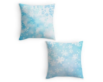 Snowflake Scatter Cushion, Blue Christmas Winter Pillow, 16x16 18x18 20x20, Xmas Decor, Cushion Cover